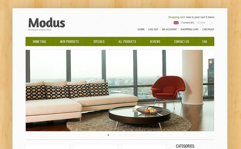 ZenCart Vorlage für Innenausstattung und Möbel  New Screenshots BIG