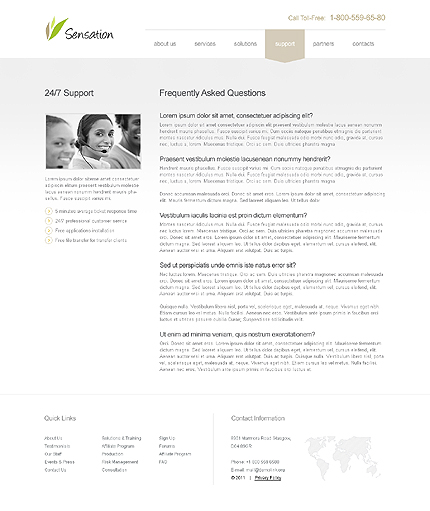 Template 39677 ( Support Page ) ADOBE Photoshop Screenshot