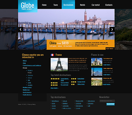 Template 39684 ( Destinations Page ) ADOBE Photoshop Screenshot