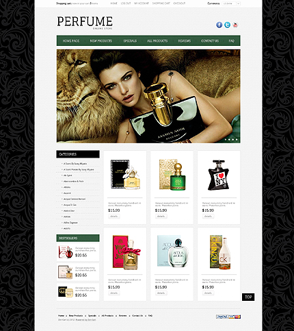 ZenCart Template 39689 Main Page Screenshot