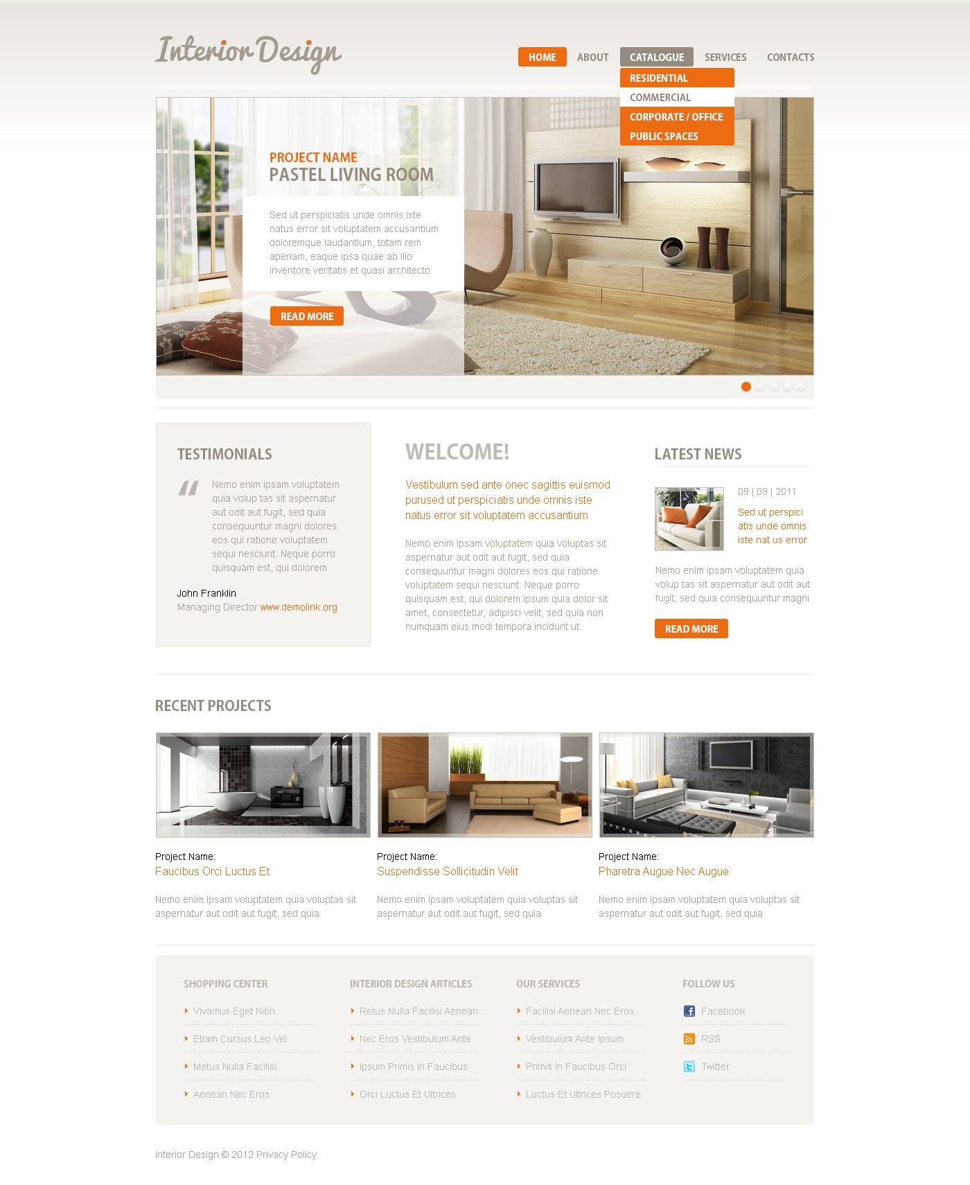 Interior Design Responsive Website Template 39607