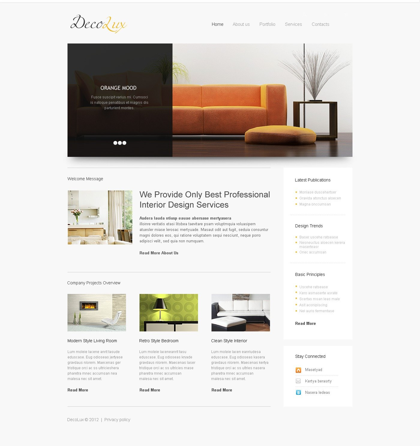 interior design responsive website template 39608. Black Bedroom Furniture Sets. Home Design Ideas
