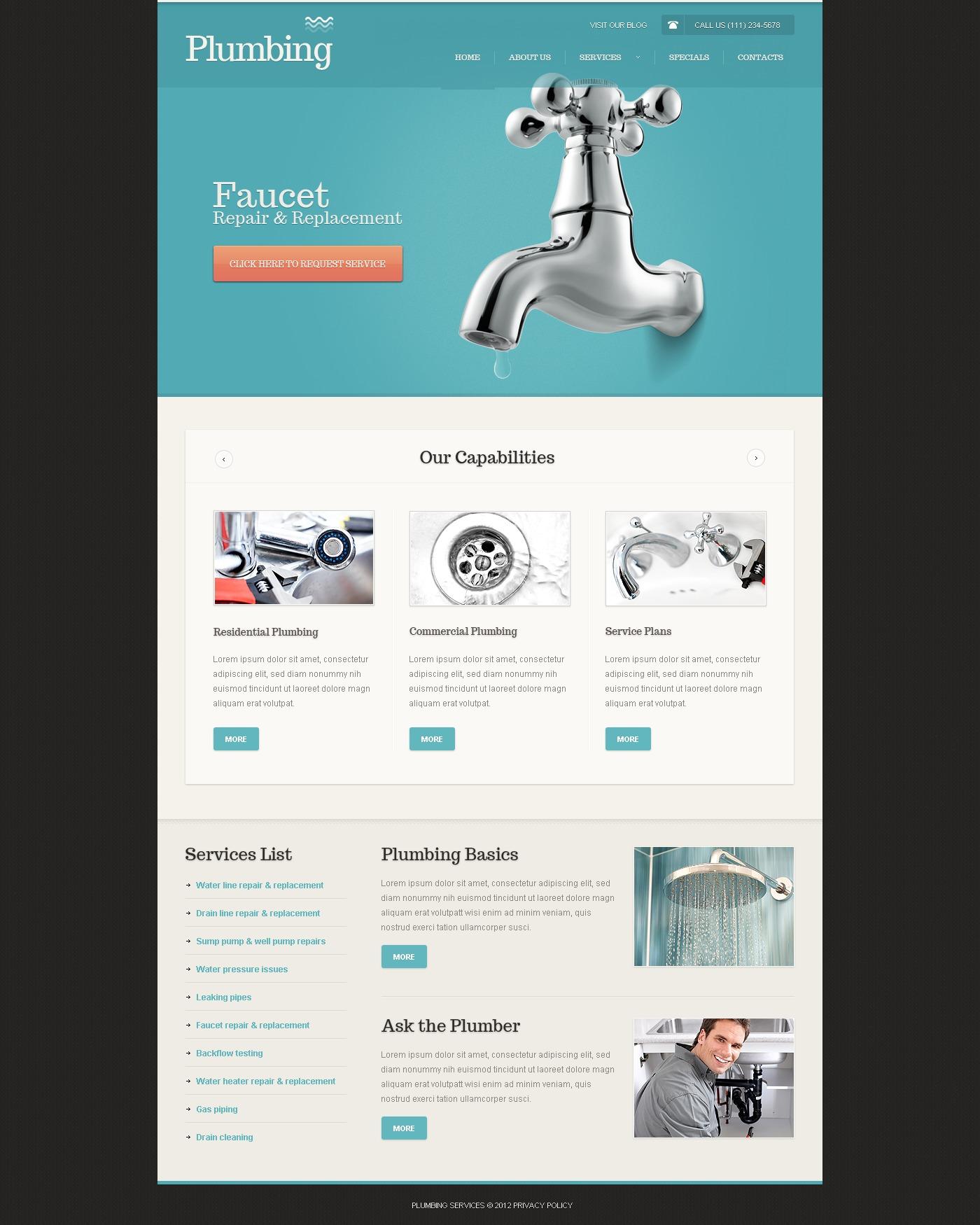 Plumbing Website Template #39612