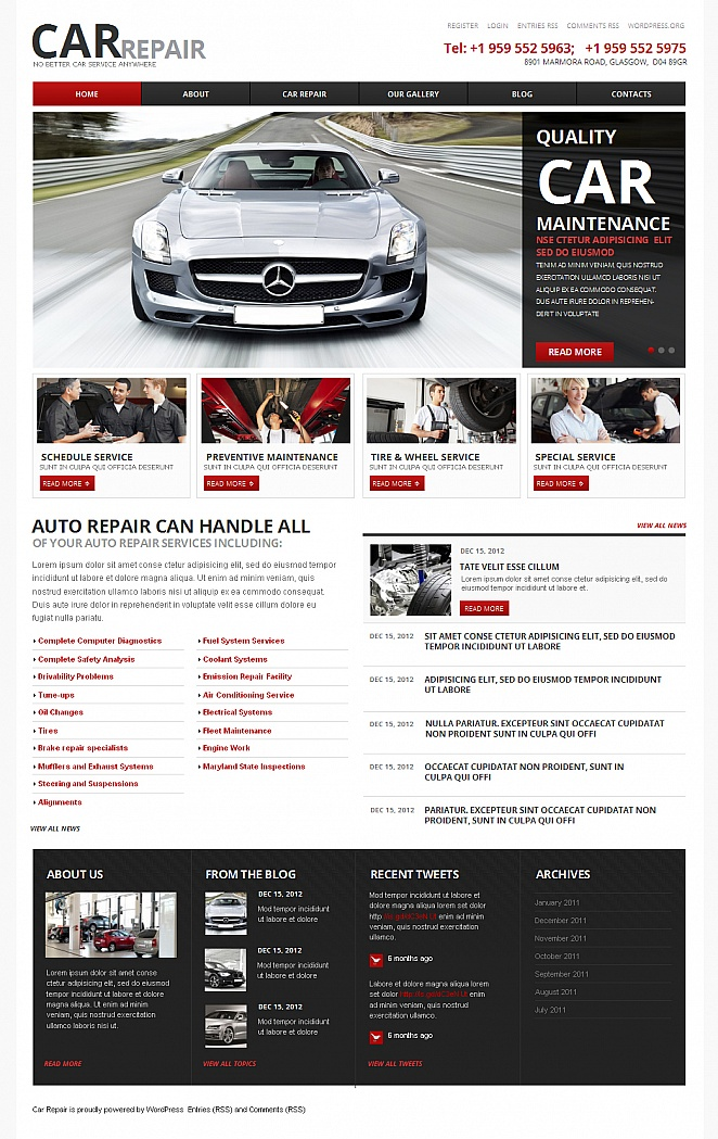 Car and Auto Repair Website Template - image