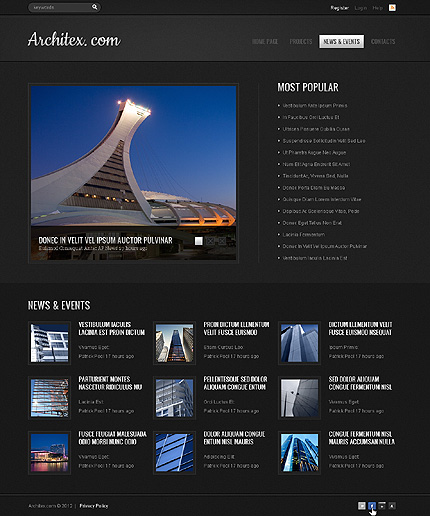 Template 39729 ( News & events Page ) ADOBE Photoshop Screenshot
