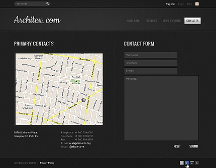 Template 39729 ( Contacts Page ) ADOBE Photoshop Screenshot