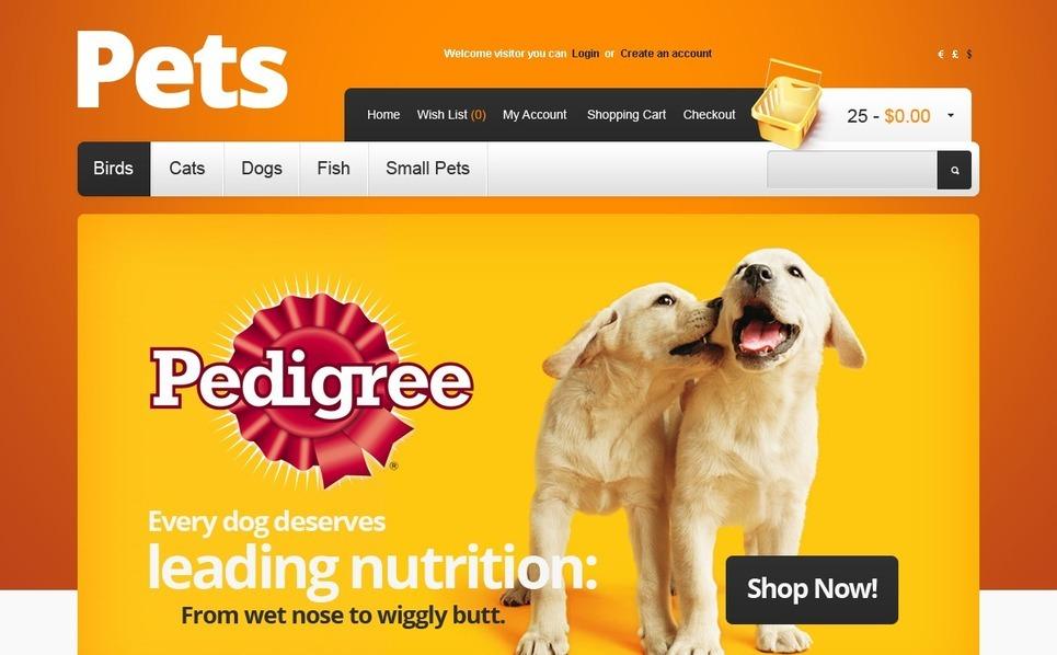 OpenCart šablona Obchod pro zvířata New Screenshots BIG