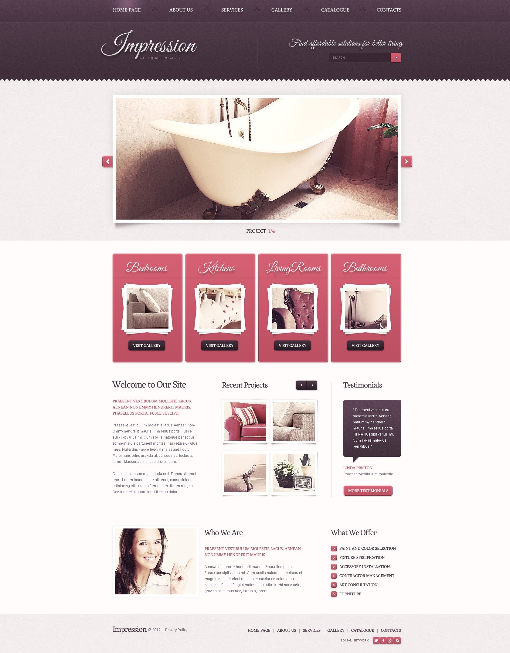 Interior Design Responsive Website Template 39781