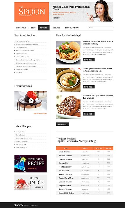 Template 39874 ( Recipes Page ) ADOBE Photoshop Screenshot