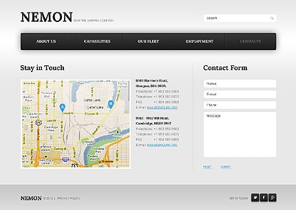 Template 39923 ( Contacts Page ) ADOBE Photoshop Screenshot