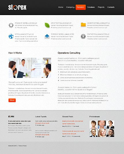 Template 39930 ( Services Page ) ADOBE Photoshop Screenshot
