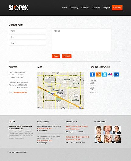 Template 39930 ( Contacts Page ) ADOBE Photoshop Screenshot
