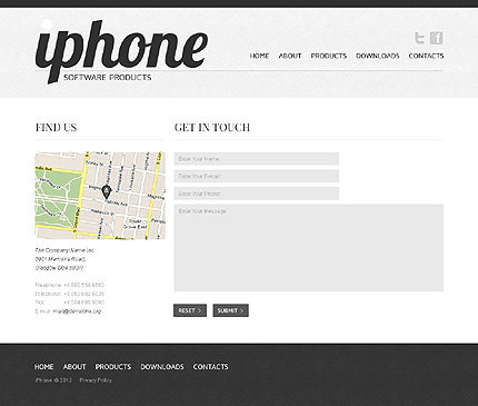 Template 40014 ( Contacts Page ) ADOBE Photoshop Screenshot