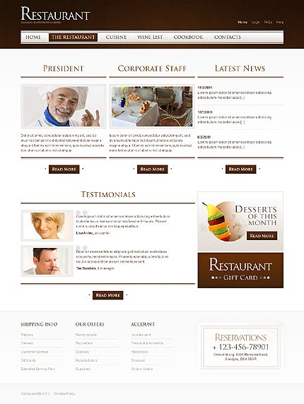 Template 40015 ( The Restaurant Page ) ADOBE Photoshop Screenshot