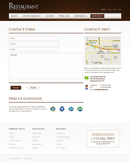 Template 40015 ( Contacts Page ) ADOBE Photoshop Screenshot