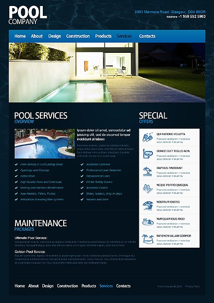 Template 40017 ( Services Page ) ADOBE Photoshop Screenshot