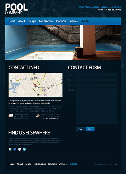 Template 40017 ( Contacts Page ) ADOBE Photoshop Screenshot