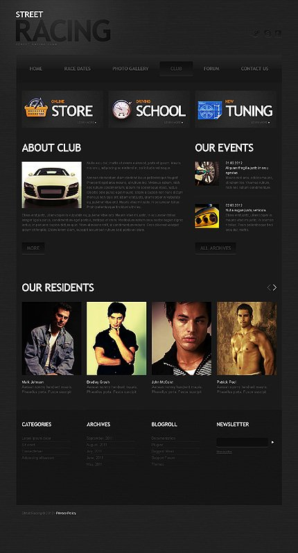 Template 40023 ( Club Page ) ADOBE Photoshop Screenshot