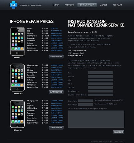 Template 40035 ( Iphone Repair Page ) ADOBE Photoshop Screenshot