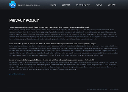Template 40035 ( Privacy Policy Page ) ADOBE Photoshop Screenshot