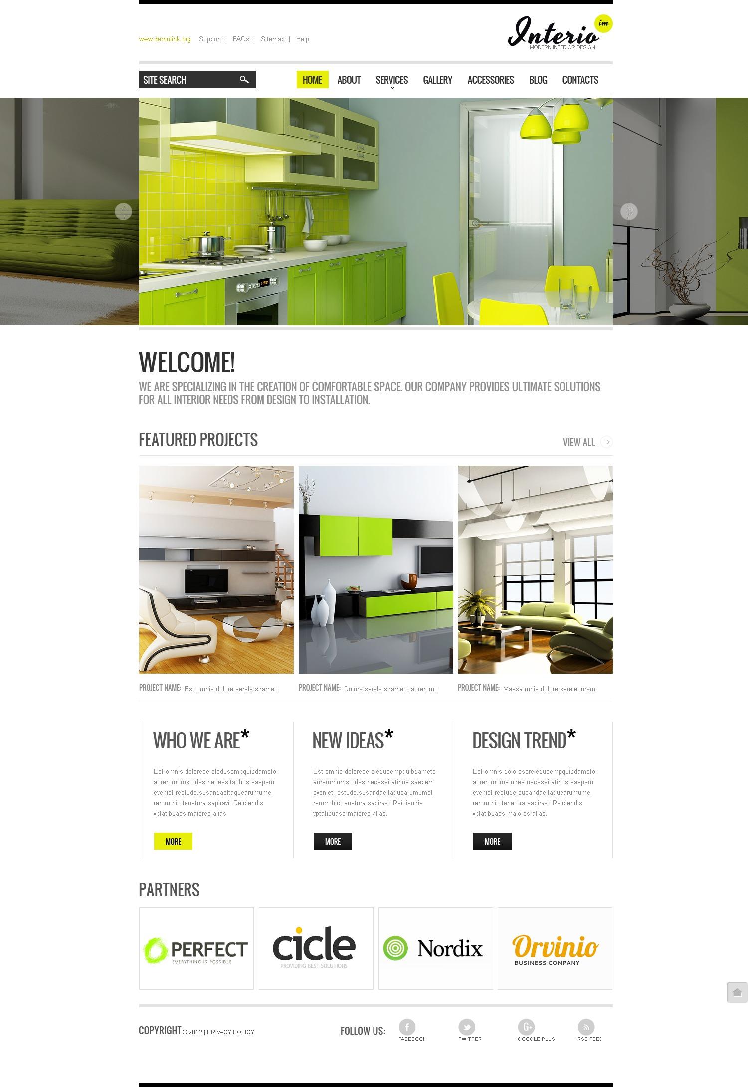 Modello siti web per un sito di design di interni for Siti di arredamento interni