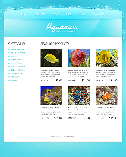 Template 40046 ( Store Page ) ADOBE Photoshop Screenshot