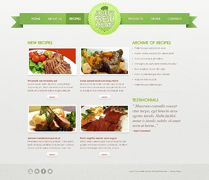 Template 40047 ( Recipes Page ) ADOBE Photoshop Screenshot