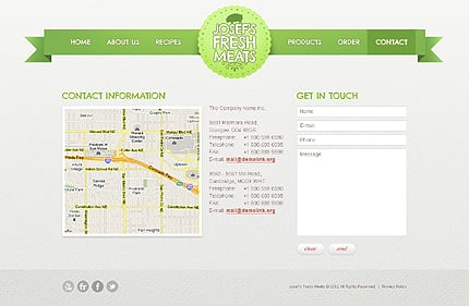 Template 40047 ( Contact Page ) ADOBE Photoshop Screenshot