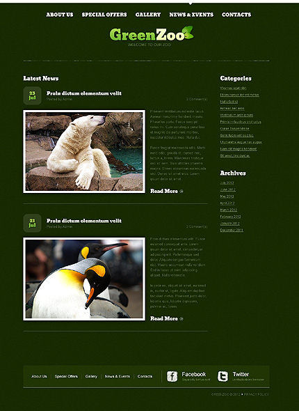 Template 40098 ( News & events Page ) ADOBE Photoshop Screenshot