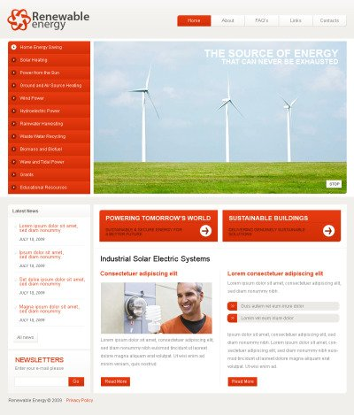 Wind Energy Flash CMS Template