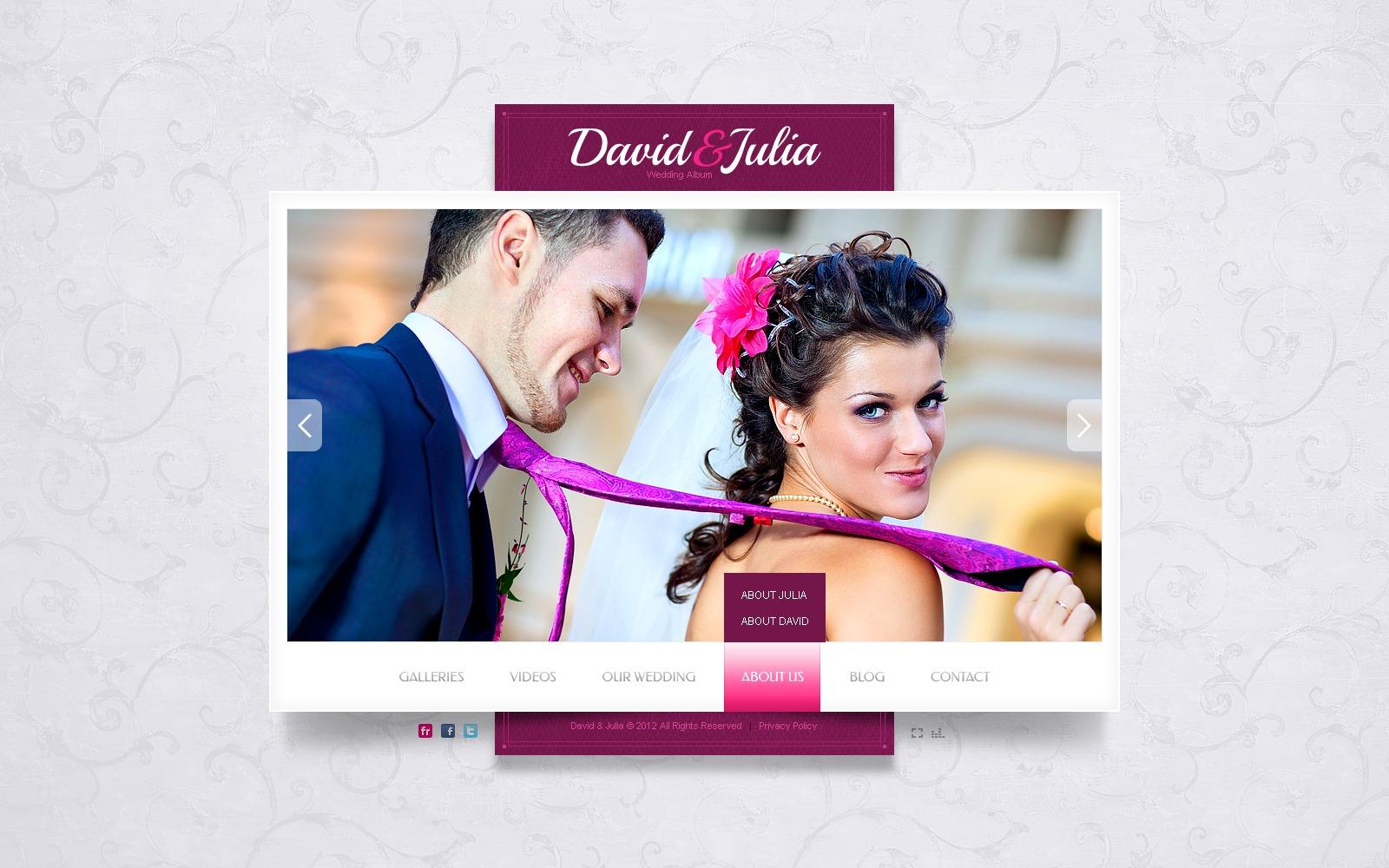 Flash шаблон сайта №40058 на тему свадебный альбом - скриншот