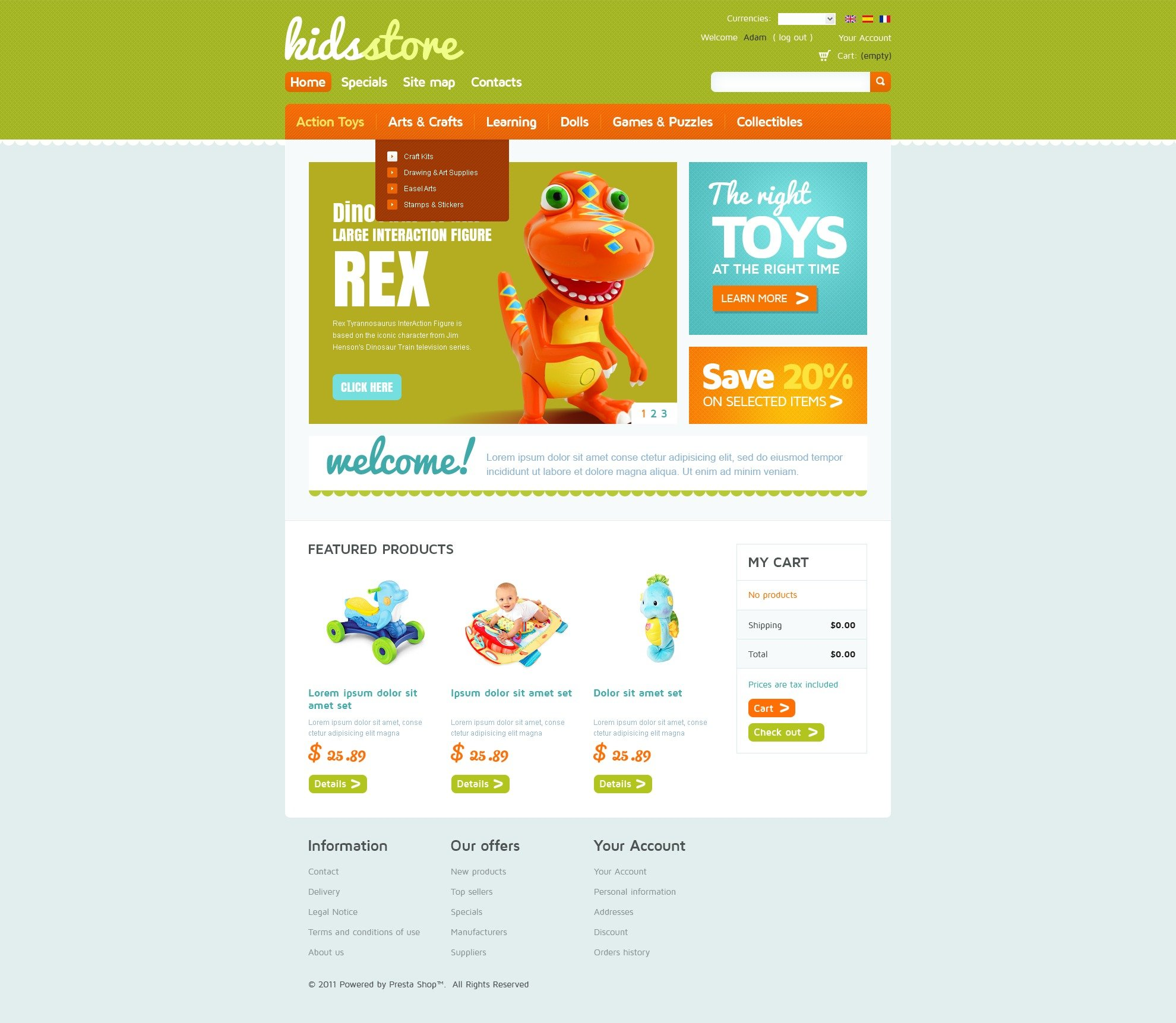 Kids Store OsCommerce Template #40061
