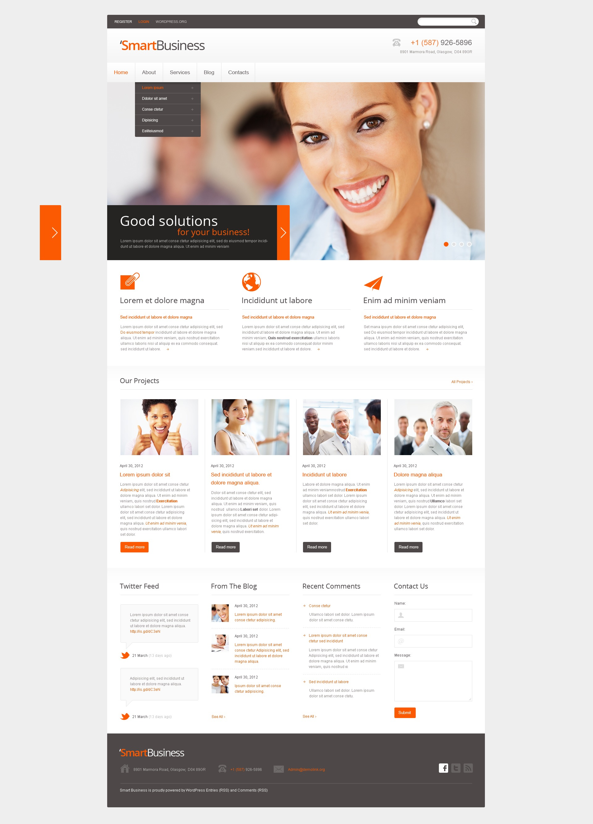 Tema De WordPress Responsive para Sitio de Negocio y Servicios #40000 - captura de pantalla