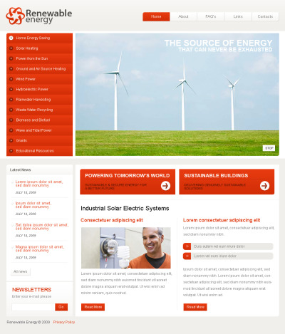Wind Energy Tema Flash CMS