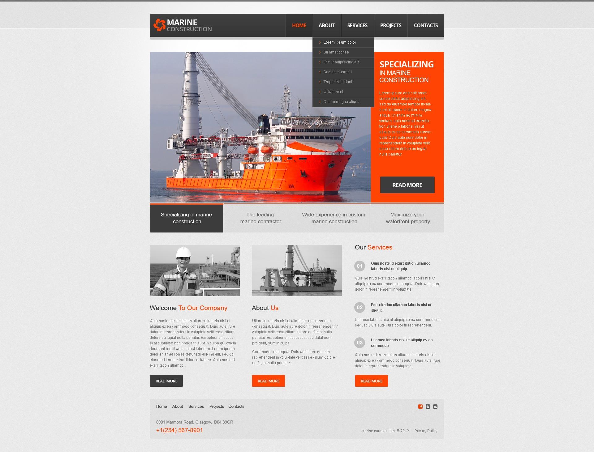 Website Vorlage für Baufirma #40044