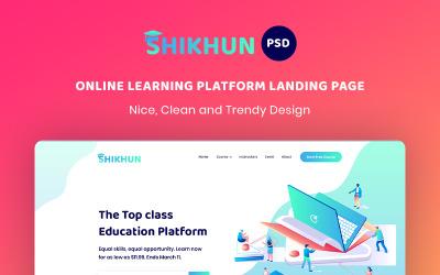 Modelo PSD da página inicial da plataforma de aprendizagem online