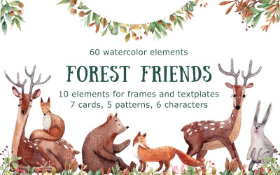 Forest Friends - Watercolor Clip Art - Illustration