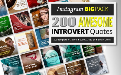 200 Awesome Introvert Quotes - Instagram BIG PACK Social Media Template