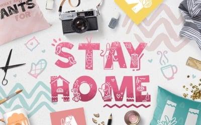 Ficar em casa - fonte do doodle