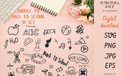 Okula Dönüş Doodle Set - Vektör Görüntü