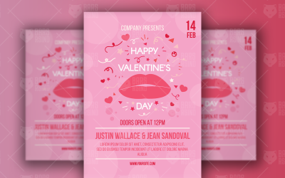 Valentine's Day Poster With Lips - Corporate Identity Template