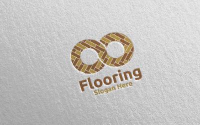 Modelo de logotipo em parquet de madeira 22 com piso infinito