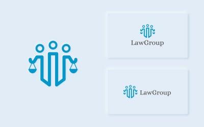 LawGroup - Modello di Logo di avvocato pulito e moderno