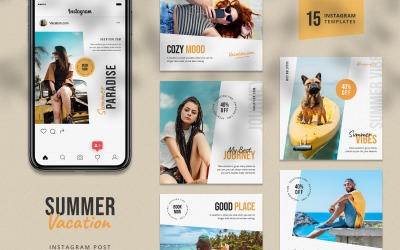 Summer Vacation Instagram Post Template for Social Media