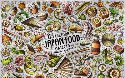 Japan Food Cartoon Doodle Objects Set - Vector Image