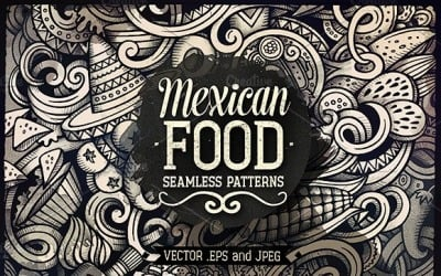 Mexican Food Graphics Doodles Seamless Pattern