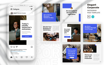 Elegant Corporate Instagram Post PSD & Canva Template for Social Media