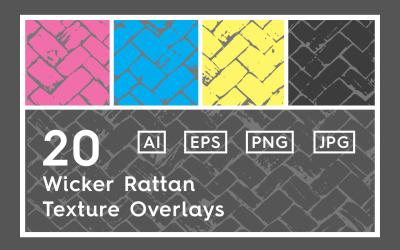 20 fonott rattan textúra átfedi a mintát