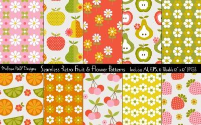 Seamless Retro Fruit Flower Pattern