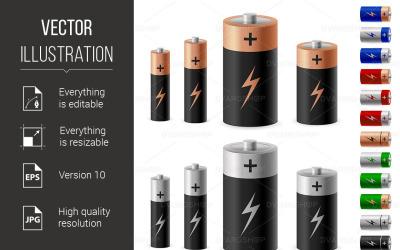 Sada baterie - vektorový obrázek
